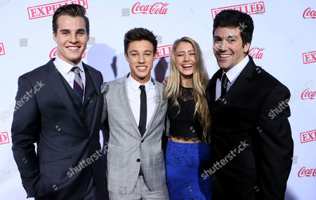 """Marcus Johns, Cameron Dallas, Lia Marie Johnson and Alex Goyette seen at The Los Angeles Premiere of AwesomenessTV's """"Expelled"""", in Los Angeles"""