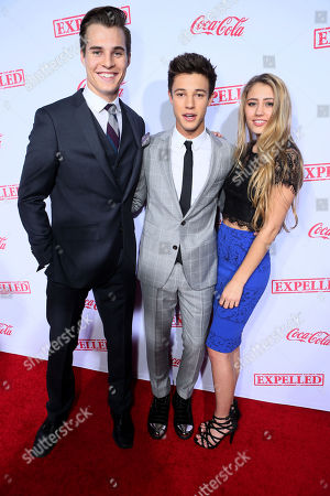 """Marcus Johns, Cameron Dallas and Lia Marie Johnson seen at The Los Angeles Premiere of AwesomenessTV's """"Expelled"""", in Los Angeles"""