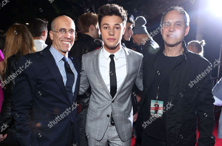 "Jeffrey Katzenberg, Cameron Dallas and Brian Robbins, CEO of AwesomenessTV seen at The Los Angeles Premiere of AwesomenessTV's ""Expelled"", in Los Angeles"