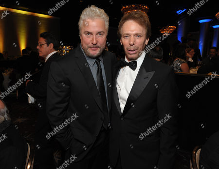 William Petersen, left, and Jerry Bruckheimer attend the presentation of the 27th Annual American Cinematheque Award to Jerry Bruckheimer, in Beverly Hills, Calif