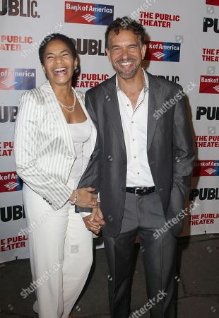 Allyson Tucker and Brian Stokes Mitchell attend the The Public Theater's annual gala at The Delacorte Theater on in New York