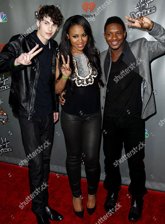 """Stock Picture of Garrett Gardner, left, Sasha Allen, center, and Kris Thomas from Team Shakira pose together at """"The Voice"""" season 4 red carpet event at the House of Blues on in Los Angeles"""