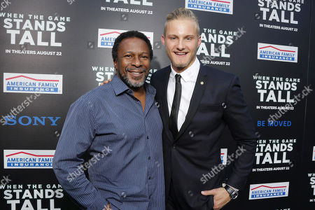 Director Thomas Carter and Alexander Ludwig seen at The World Premiere of Tri Star Pictures' 'When The Game Stands Tall' at ArcLight Cinemas Hollywood, in Los Angeles