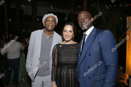"""Exclusive - Samuel L. Jackson, Sylvia Bongo Ondimba, First Lady of Gabon, and Djimon Hounsou seen at The World Premiere of Warner Bros. Pictures and Village Roadshow Pictures' """"The Legend of Tarzan"""" at Dolby Theater, in Los Angeles"""