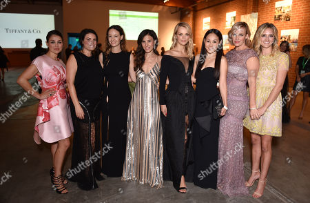 Stock Picture of Event chairs Sabina Nathanson, and from left, Yifat Oren, Jackie Winnick, Jenni Kayne, Mira Lee, Kelly Sawyer, Norah Weinstein and Ali Taekman attend the third annual Baby2Baby Gala honoring Kate Hudson at The Book Bindery, in Culver City, Calif
