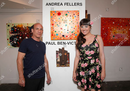 Stock Picture of Paul Ben Victor and Andrea Fellers attend the This Way & That Art Exhibit at Seyhoun Gallery on Friday, August 22, in Los Angeles