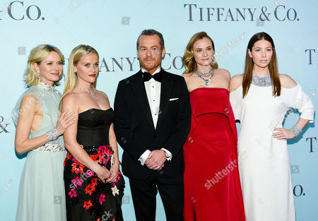 "Actresses, from left, Naomi Watts, Reese Witherspoon, Diane Kruger and Jessica Biel pose with Tiffany & Co. CEO Frederic Cumenal at the Tiffany & Co. 2016 Blue Book Celebration ""The Art of Transformation"" at The Cunard Building, in New York"