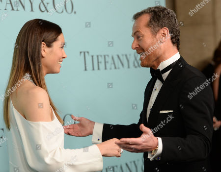 "Actress Jessica Biel and Tiffany & Co. CEO Frederic Cumenal attend the Tiffany & Co. 2016 Blue Book Celebration ""The Art of Transformation"" at The Cunard Building, in New York"