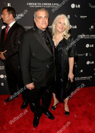 Joe Germanotta, left, and Cynthia Germanotta, right, attend a Tony Bennett and Lady Gaga concert taping, in New York