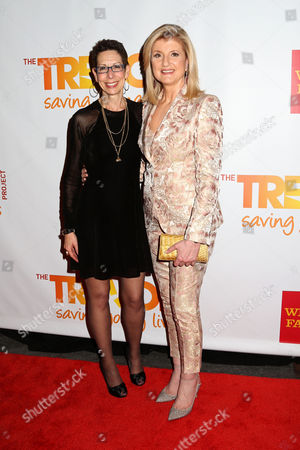 The Trevor Project CEO Abbe Land, left, and Arianna Huffington attend the TrevorLIVE Benefit at the Marriott Marquis, in New York
