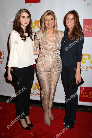 From left, Isabella Huffington, Arianna Huffington and Christina Huffington attend the TrevorLIVE Benefit at the Marriott Marquis, in New York