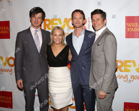 From left, Christian Hebel, Rachael Harris, Neil Patrick Harris and David Burtka attend the TrevorLIVE Benefit at the Marriott Marquis, in New York