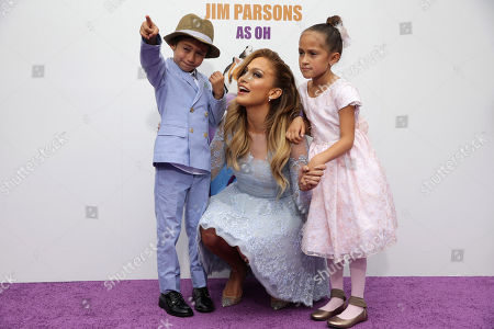 "Maximilian David Muniz, Jennifer Lopez and Emme Maribel Muniz seen at the Twentieth Century Fox and DreamWorks Animation Los Angeles Premiere of ""Home"" held at the Regency Village Theatre, in Westwood, Calif"
