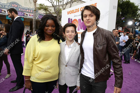 """Octavia Spencer, Griffin Gluck and Nolan Sotillo seen at the Twentieth Century Fox and DreamWorks Animation Los Angeles Premiere of """"Home"""" held at the Regency Village Theatre, in Westwood, Calif"""