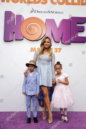"Maximilian David Muniz, Jennifer Lopez and Emme Maribel Muniz seen at the Twentieth Century Fox and DreamWorks Animation Los Angeles Premiere of ""Home"" held at the Regency Village Theatre, in Westwood, Calif"