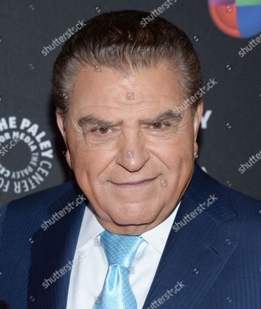 """Television personality Mario Kreutzberger, aka Don Francisco, arrives at an event to be honored by The Univision Network & The Paley Center for Media, for his contributions in broadcasting while hosting the """"Sabado Gigante"""" variety show,, in New York"""
