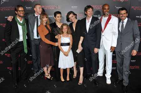 "From left, Johann Urb, Kevin Durand, Sienna Guillory, Li Bingbing, Aryana Engineer, Milla Jovovich, Paul W.S. Anderson and actors Boris Kodjoe and Oded Fehr attend the US premiere of ""Resident Evil: Retribution"" at Regal Cinemas L.A. Live on in Los Angeles"