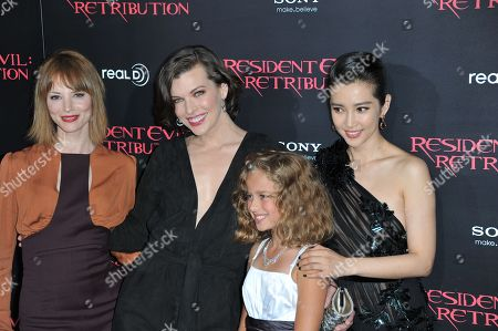 """From left, Sienna Guillory, Milla Jovovich, Aryana Engineer and Li Bingbing attend the US premiere of """"Resident Evil: Retribution"""" at Regal Cinemas L.A. Live on in Los Angeles"""