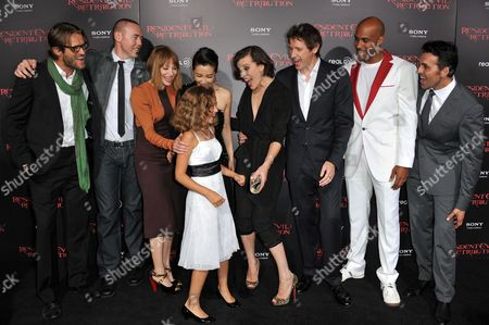 "From left, Johann Urb, Kevin Durand, Sienna Guillory, Aryana Engineer, Li Bingbing, Milla Jovovich, Paul W.S. Anderson and actors Boris Kodjoe and Oded Fehr attend the US premiere of ""Resident Evil: Retribution"" at Regal Cinemas L.A. Live on in Los Angeles"