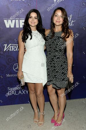 Ariel Winter, left, and sister Shanelle Workman arrive at Variety and Women in Film's pre-Emmy celebration at Gracias Madre on in West Hollywood, Calif