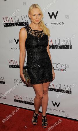 Irina Voronina poses at Viva Glam magazine's September issue launch at Station Hollywood, in Los Angeles