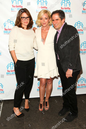 Tina Fey, from left, Jane Krakowski and Seth Rudetsky attend Voices for The Voiceless: Stars for Foster Kids at the St. James Theatre, in New York