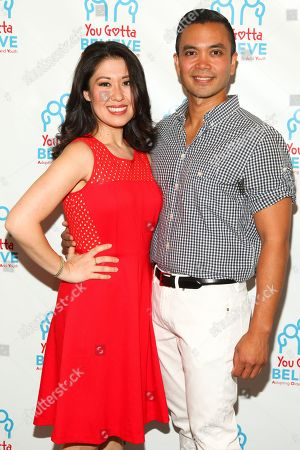 Ruthie Ann Miles, left, and Jose Llana, right, attend Voices for The Voiceless: Stars for Foster Kids at the St. James Theatre, in New York