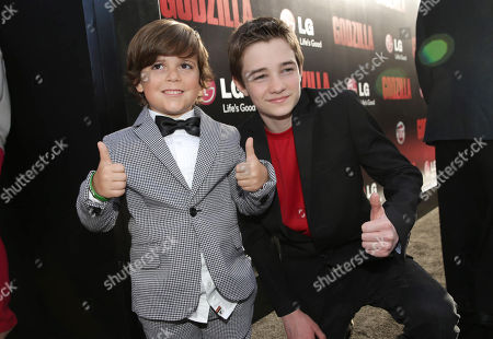 Carson Bolde and CJ Adams seen at Warner Bros. Pictures and Legendary Pictures Present the Los Angeles Premiere of 'Godzilla' at Dolby Theatre, in Hollywood