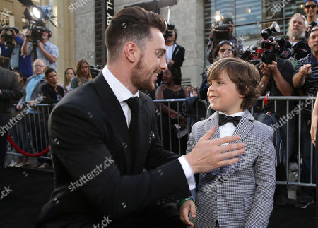 Stock Image of Aaron Taylor-Johnson and Carson Bolde seen at Warner Bros. Pictures and Legendary Pictures Present the Los Angeles Premiere of 'Godzilla' at Dolby Theatre, in Hollywood