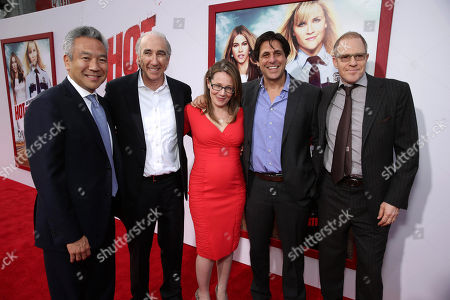 """Kevin Tsujihara, Chief Executive Officer of Warner Bros., Gary Barber, chairman/CEO of Metro-Goldwyn-Mayer, Producer Dana Fox, Jonathan Glickman, president of MGM Pictures Film Division and Toby Emmerich, President and COO, New Line Cinema seen at Warner Bros. Premiere of """"Hot Pursuit"""", in Los Angeles"""