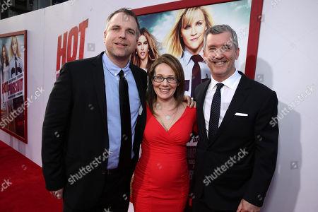 "Writer David Feeney, Producer Dana Fox and writer John Quaintance seen at Warner Bros. Premiere of ""Hot Pursuit"", in Los Angeles"