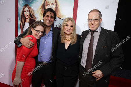 """Producer Dana Fox, Jonathan Glickman, president of MGM Pictures Film Division, Producer Bruna Papandrea and Toby Emmerich, President and COO, New Line Cinema seen at Warner Bros. Premiere of """"Hot Pursuit"""", in Los Angeles"""