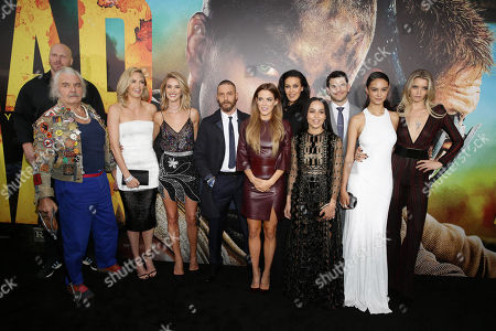 "Nathan Jones, Hugh Keays-Byrne, Charlize Theron, Rosie Huntington-Whiteley, Tom Hardy, Riley Keough, Megan Gale, Zoe Kravitz, Josh Helman, Courtney Eaton and Abbey Lee seen at the Warner Bros. premiere of ""Mad Max: Fury Road"", in Los Angeles"