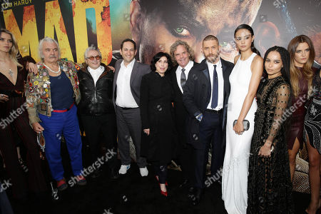 "Stock Image of Abbey Lee, Hugh Keays-Byrne, director/producer George Miller, Greg Silverman, President of Creative Development and Worldwide Production at Warner Bros. Pictures, Sue Kroll, President of Worldwide Marketing and International Distribution at Warner Bros. Pictures, producer Doug Mitchell, Tom Hardy, Courtney Eaton, Zoe Kravitz and Riley Keough seen at the Warner Bros. premiere of ""Mad Max: Fury Road"", in Los Angeles"