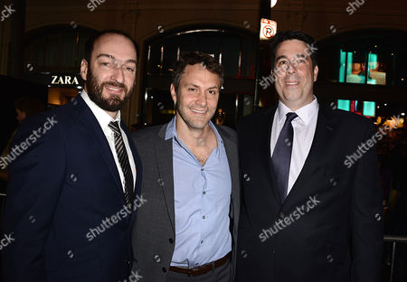 """From left to right, director Ken Scott, producer Mark Sourian and producer Ray Angelic arrive on the red carpet at the world premiere of """"Delivery Man"""" at The El Capitan Theatre on in Los Angeles"""