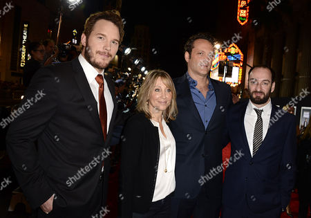 """From left to right, actor Chris Pratt, executive Stacie Snyder, actor Vince Vaughn and director Ken Scott arrive on the red carpet at the world premiere of """"Delivery Man"""" at The El Capitan Theatre on in Los Angeles"""