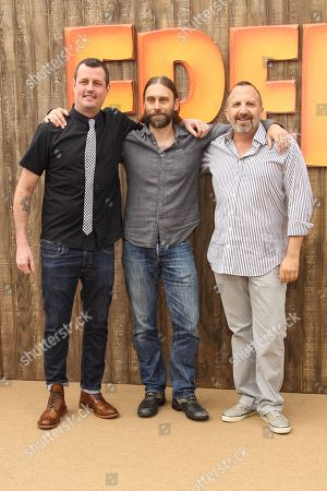 "Stock Photo of From left, Director Jimmy Hayward, producer Scott Mosier and producer Aron Warner arrive at the world premiere of ""Free Birds"" at the Westwood Village Theatre on in Los Angeles"
