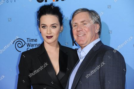 """Katy Perry, left, with President and Chief Executive Officer of EPIX Mark Greenberg arrive at the World Premiere Of """"Katy Perry: The Prismatic World Tour"""" held at The Theatre at Ace Hotel, in Los Angeles"""