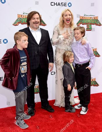 """Jack Black, second from left, his son, Samuel Black, left, and Kate Hudson, third from right, and her sons from right, Ryder Robinson and Bingham Hawn Bellamy arrive at the world premiere of """"Kung Fu Panda 3"""" at the TCL Chinese Theatre, in Los Angeles"""