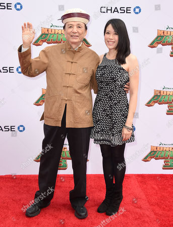 "James Hong, left, and April Hong arrive at the world premiere of ""Kung Fu Panda 3"" at the TCL Chinese Theatre, in Los Angeles"