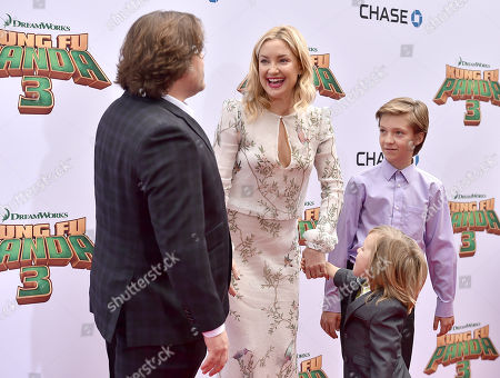 """Jack Black, from left, Kate Hudson and her sons Bingham Hawn Bellamy and Ryder Robinson arrive at the world premiere of """"Kung Fu Panda 3"""" at the TCL Chinese Theatre, in Los Angeles"""