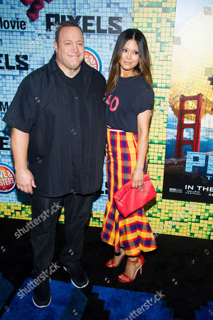 "Kevin James and Steffiana de la Cruz attend the world premiere of ""Pixels"" at Regal E-Walk, in New York"