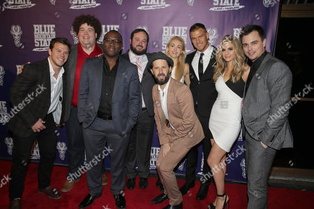 Jimmy Tatro, Rob Ramsay, Omari Newton, Writer/Producer Eric Falconer, Writer/Producer/Actor Chris Romano, Lindsey Sporrer, Writer/Producer/Actor Alan Ritchson, Kelly Kruger and Darin Brooks seen at World premiere of 'Blue Mountain State: The Rise of Thadland' at The Fonda Theatre, in Los Angeles, CA