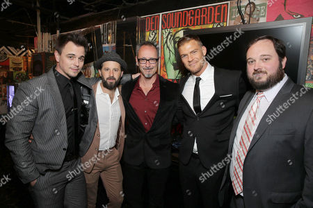 Stock Photo of Darin Brooks, Writer/Producer/Actor Chris Romano, Director Lev L. Spiro, Writer/Producer/Actor Alan Ritchson and Writer/Producer Eric Falconer seen at World premiere of 'Blue Mountain State: The Rise of Thadland' at The Fonda Theatre, in Los Angeles, CA