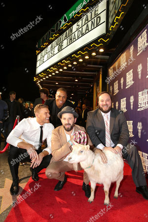 Writer/Producer/Actor Alan Ritchson, Sam Jones III, Writer/Producer/Actor Chris Romano and Writer/Producer Eric Falconer seen at World premiere of 'Blue Mountain State: The Rise of Thadland' at The Fonda Theatre, in Los Angeles, CA
