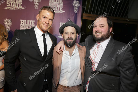 Writer/Producer/Actor Alan Ritchson, Writer/Producer/Actor Chris Romano and Writer/Producer Eric Falconer seen at World premiere of 'Blue Mountain State: The Rise of Thadland' at The Fonda Theatre, in Los Angeles, CA