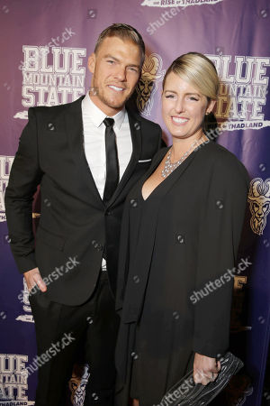 Stock Photo of Writer/Producer/Actor Alan Ritchson and Catherine Ritchson seen at World premiere of 'Blue Mountain State: The Rise of Thadland' at The Fonda Theatre, in Los Angeles, CA