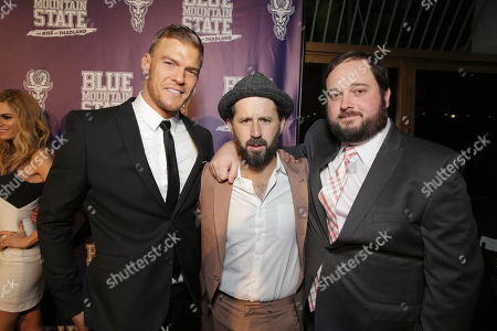 Stock Picture of Writer/Producer/Actor Alan Ritchson, Writer/Producer/Actor Chris Romano and Writer/Producer Eric Falconer seen at World premiere of 'Blue Mountain State: The Rise of Thadland' at The Fonda Theatre, in Los Angeles, CA