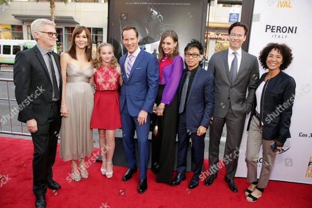 """Stock Photo of Producer Rob Cowan, Frances O'Connor, Madison Wolfe, Patrick Wilson, Vera Farmiga, Director/Writer/Producer James Wan, Producer Peter Safran and LA Film Festival Director Stephanie Allain seen at World Premiere of New Line Cinema's """"The Conjuring 2"""" at 2016 LA Film Festival, in Los Angeles"""