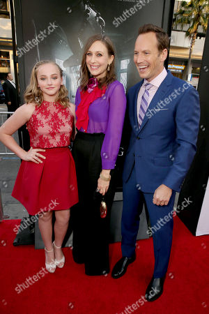 """Stock Image of Madison Wolfe, Vera Farmiga and Patrick Wilson seen at World Premiere of New Line Cinema's """"The Conjuring 2"""" at 2016 LA Film Festival, in Los Angeles"""